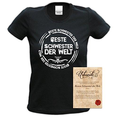 bequemes T-Shirt Damen Frauen Motiv Beste Schwester der Welt Geschenk-Idee, Muttertag, Weihnachten kurzarm Outfit, Mode Farbe: schwarz Schwarz