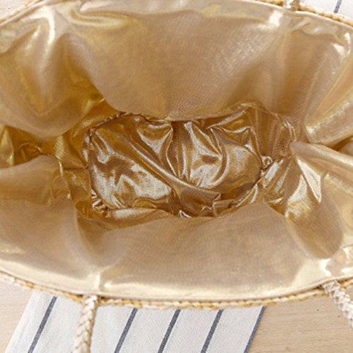 YOUJIA Stroh Taschen Blumen Casual Handtaschen Damen Tragetaschen Für Sommer / Strand #2 Circular