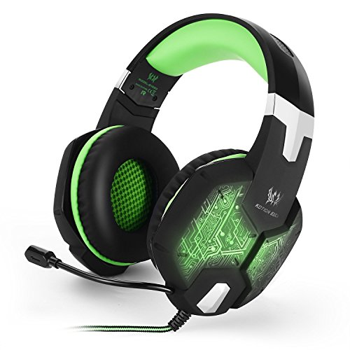 VersionTech Gaming Headset Kopfhörer mit USB Stecker LED Mikrofon Gaming Spielen Chat Musik für Mac PC (Grün)