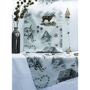 Tischläufer, beige mit Bergen und Tieren (Alpen, Kuh, Gämse, Hütte, Edelweiß etc.) 140x40