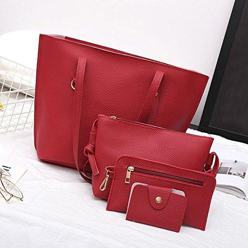Schultertaschen für Damen Groß Jamicy® 4Pcs Frauen Litchi Muster PU Leder Schultertasche + Umhängetasche + Handtasche + Brieftasche Business Outdoor Rot