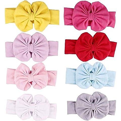 Enuo Lot de 8pcs Bandeau Cheveux élastique Florale Bébé Fille