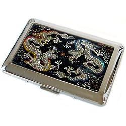 Antique Alive madre de perla amarillo y azul diseño de dragón grabado acero inoxidable Metal funda para cigarrillos caja de almacenaje (C102)
