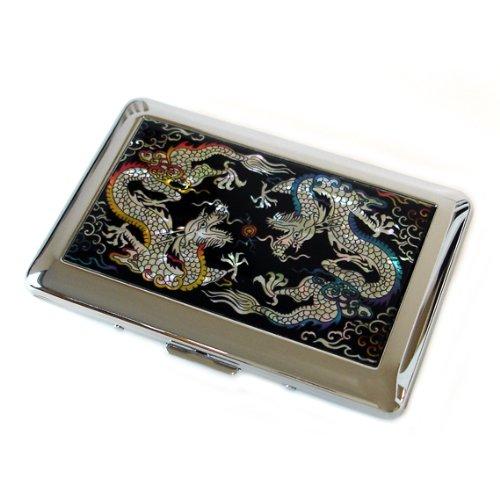 Antique Alive Mother of Pearl giallo e blu drago design in acciaio INOX...
