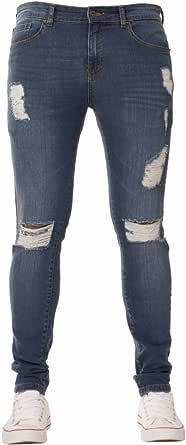 Enzo New Mens Designer Stretch Super Skinny Ripped Denim Jeans Mid Stonewash