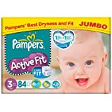 Pampers Active Fit Lot de 84 couches Taille 3 4-9 kg