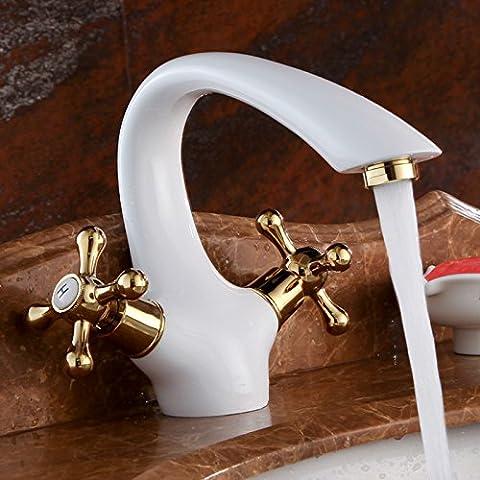 TougMoo elegante Deck Mount zwei Griffe Waschbecken Wasserhahn Weiß & Gold Waschbecken Mischbatterie mit heißem und kaltem Wasser (Brunnen Belüfter)