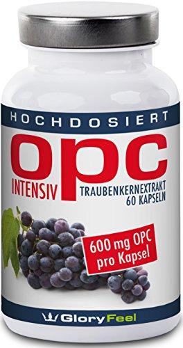 OPC Traubenkernextrakt Kapseln Intensiv - Der VERGLEICHSSIEGER 2018* - 600mg pro Veganer Kapsel (95% OPC Gehalt) - OPC Hochdosiert Ohne Magnesiumstearate - 60 Kapseln - Nahrungsergänzung made in Germany von GloryFeel