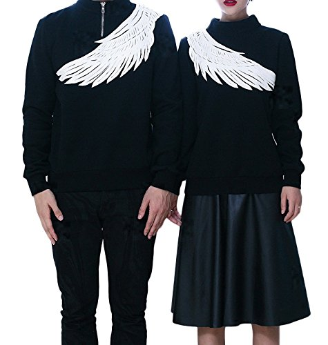Smile YKK Pull-over Unisexe Couple Sweat-shirts Manches Longues Col Roulé Homme