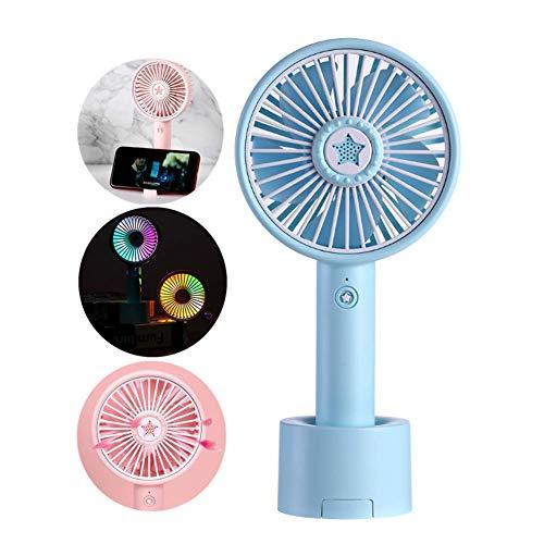 4 In 1 Lucky Star Aromatherapie Fan LED Bunte Gradientenlampe Desktop Handheld Tragbare USB Mini Fans Wiederaufladbare Luftkühler mit Halterung,Lightblue -
