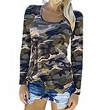 Longra Langarmshirt Damen Mode Bluse Casual T Shirt Hemd Damen Camouflage Langarm Sweatshirt Pullover Lose Tops Oberteil (M, Green)
