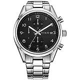 BUREI Herren Armbanduhr Saphirglas Quarz Uhren Analog Uhr Edelstahl Armband elegante Herrenuhr mit Datum BM-7005 (Schwarz-silber)