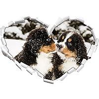 cucciolo Bovaro a forma di cuore neve nel formato sguardo, parete o adesivo porta 3D: 92x64.5cm, autoadesivi della parete, decalcomanie della parete, Wanddekoratio