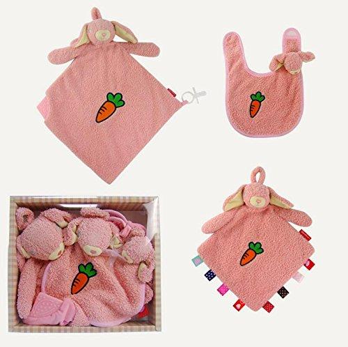 Rolypolybaby Schön und weich Baby Tröster Spielzeug Baumwolle Handtuch Soft Handtuch Plüsch Raabbit Spielzeug 3 Stück / Set_Pink -