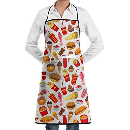 j65rwjtrhtr Schürze Apron Hot Dog Soda Drink Pattern Adjustable Neck Bib Aprons with Pockets for Men Women