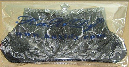 KAXIDY Damen Clutch Abendtasche Pailletten Tasche Schultertasche Handtasche Hochzeit Party Außen (Schwarz) Schwarz