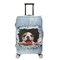 SINOKAL 3D Luggage Protector Suitcase Cover with Zipper Travel 20 24 26 28 29 30 31 inch (S(19''-21''), Cowboy Dog)