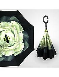 Zantec Sombrilla invertida de dos capas reversible paraguas plegable de doble manija en forma de C
