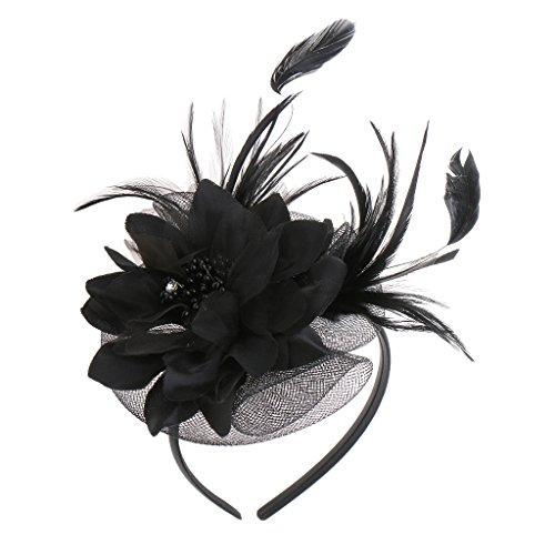 Gazechimp Feder Fascinator Haarreif Blume Schleier Hut Haarband Kopfschmuck - Schwarz