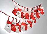 Details zu Adventskalender Stiefel Socken 24 Stück rot weiß länge 200 cm Weihnachten Advent