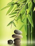 Artland Qualitätsbilder I Bild auf Leinwand Leinwandbilder Wandbilder 60 x 80 cm Wellness Zen Stein Foto Grün B2YA Spa Stillleben