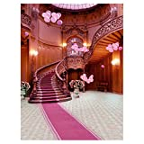 #4: Segolike 3x5ft Party Wedding Bar Studio Wall Decration Photography Backdrop Studio Photo Background Props Romantic Red Carpet Staircase
