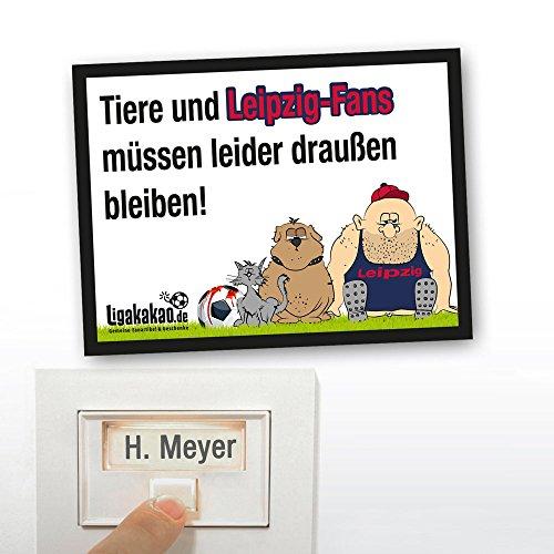 Klingel Abwehr-Schild vor Leipzig-Fans | Achtung Hertha-, Dynamo Dresden- & alle Fußball-Fans, Dieses witzige Haus-Tür-Schild sorgt für klare Verhältnisse -