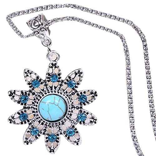 QIYUN.Z Vintage Blue Sonnenblume Kristall Türkis Anhänger Legierungskette Frauen Halskette Vintage-sonnenblume-dekor