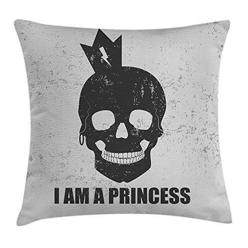 Kissenbezüge I am a Princess Throw Pillow Cushion Cover, Skull with a Crown Skeleton Halloween Theme Grunge Look, Decorative Square Accent Pillow Case, 18 X 18 inches, Charcoal Grey and Pale Grey