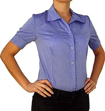 5260 Damen Body Bluse, Blusenbody, Baumwolle, kurzarm, einfarbig, blau XS/34!