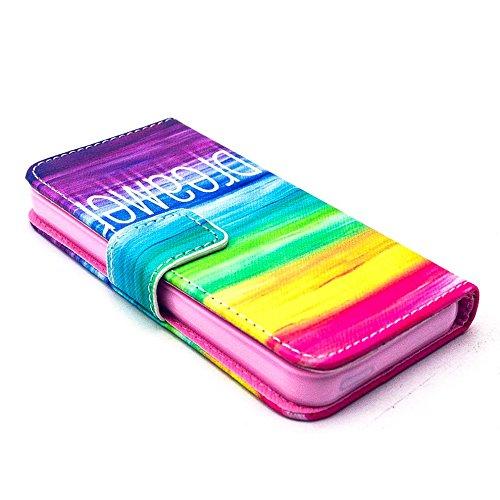 Più colorate Ancerson in pelle PU Flip Custodia per cellulare per Apple iPhone 5/5S/5G in pittura ad olio Stil Colorful Painting Custodia Flip Case Custodia in similpelle custodia per cellulare con fu arcobaleno
