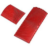 2 Stücke Holz Gummi Roller Wand Pinsel Kunst Farbe Textur Maserier Muster Malerei Dekoration DIY Werkzeug Rot