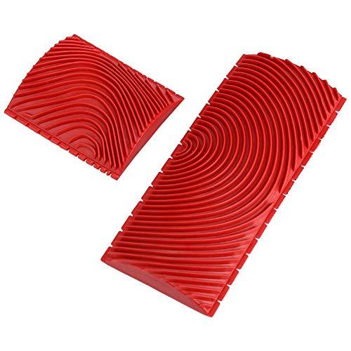 2 Stücke Holz Gummi Roller Wand Pinsel Kunst Farbe Textur Maserier Muster Malerei Dekoration DIY Werkzeug Rot -