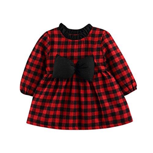leinkind Cute Baby Mädchen Langarm Kleid Plaid Kariertes Bowknot Prinzessin Kleid Warme Kleidung(6M,A-Rot) (Cute Christmas Kleid)