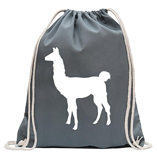 KIWISTAR - Lama Alpaca Kamel Turnbeutel Fun Rucksack Sport Beutel Gymsack Baumwolle mit Ziehgurt Stahlgrau
