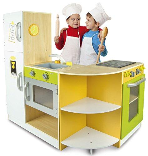 Leomark Große KÜCHE Holz Flex Concept 3 Module Spielzeug Ecke Modular Küchenecke Kinder Kühlschrank Ofen Kocher Grün Natur
