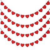Tatuo 4 Set Banner Bandiera a Cuore per Giorno di San Valentino Cuore Feltro Ghirlande di Vacanze da Appendere Decorazioni per Matrimoni Feste Compleanno Rifornimenti (Colore Set 1)