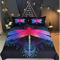 UMOOIN Bohemia Funda nórdica Set 3 Piezas, 3D Mandala Colorida de la libélula Diseño de Ropa de Cama, decoración Funda nórdica y Funda de Almohada 2,King264cmx228cm