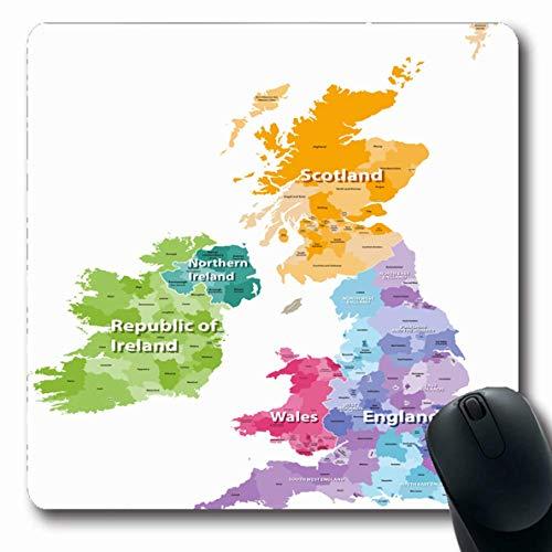 Alfombrillas para Computadoras Mapa Gales Islas Británicas Coloreado por Países del Oeste Irlanda Inglaterra Gran Bretaña Cheshire Kent Diseño Alfombrilla de ratón antideslizante para juegos oblongos