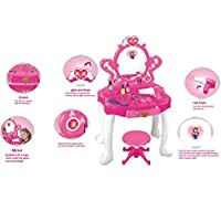Kids Pink Electronic Princess Style Dressing Table Play Set With Light & Sounds Toy Educational Childrens Play Toy Ride on Toys Set for Boys and Girls toys