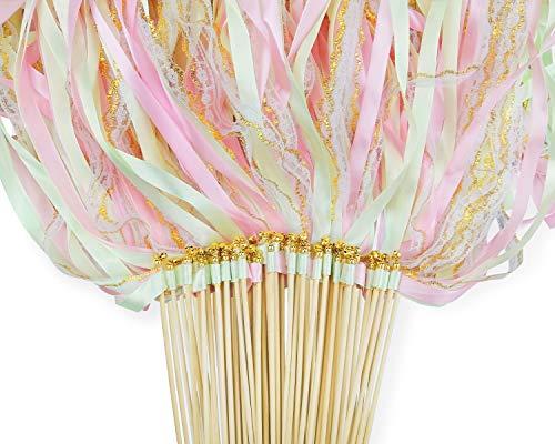 CODOHI 50 Packungen Ribbon Wands Fairy Streamer Mint Pink Gold Spitzenbänder mit Glocken für die Hochzeit Senden Sie Mädchen Geburtstagsfeier
