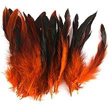 50pcs Plumas de Gallo Decoración para Disfraces Hogar Bricolaje 12-18cm (naranja)