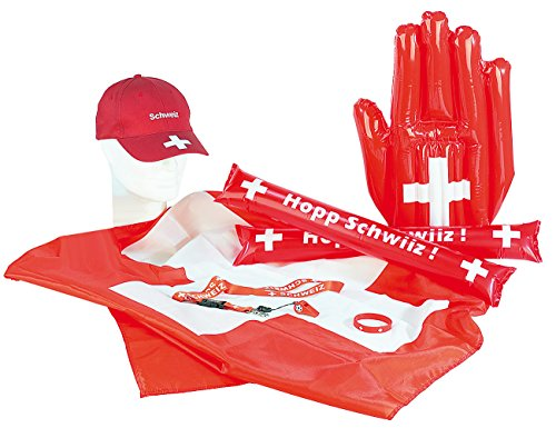 "PEARL Fan-Set Deutschland: Exklusives Fan-Set ""Schweiz"", 7-teilig (Sport-Fan-Sets)"