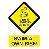 creativeminds UK keine Lifeguard auf Swim at your own risk eine Pool Sicherheit Wandschild