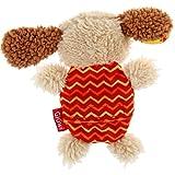 GiGwi 6222 Hundespielzeug Plush Friendz Hund aus Plüsch mit austauschbarem Quietscher, für kleine Hunde, beige / rot - 4