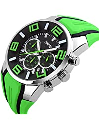 Mode Sport Bracelet En Silicone Trois Yeux Montre à Quartz Homme,Vert