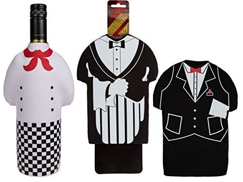 Bada Bing 2 tlg. Set hochwertige Flaschenverpackung Weihnachtsmann Flaschenüberzug Flasche Geschenk Santa ootb (3er Set) (Panthers Santa)