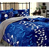 C&G 120 TC Microfiber Double Printed Bedsheet (Pack of 1, Blue)