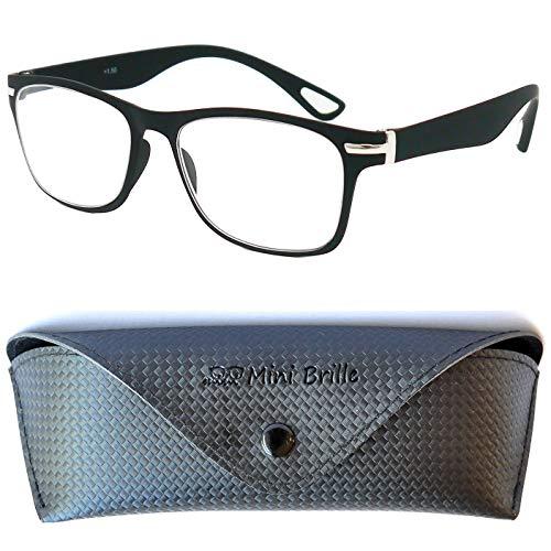 Trendy Vintage Lesebrille mit großen Gläsern | GRATIS Etui und Brillenputztuch | Leichte & Flexible Brille (Schwarz)| Lesehilfe für Damen und Herren | +1.0 Dioptrien
