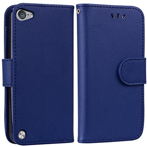 Yunbaoz iPod Touch 5/6 Lederhülle Rein Farbe Wallet Case Hülle Blau (Für Case Ipod Männer Wallet 4)